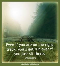 Even if you are on the right track, you'll get run over if you just sit there. -Will Rogers