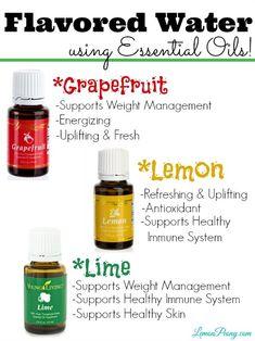 Flavored Water Using Essential Oils   Lemon, Lime, Grapefruit! Love these Citrus Essential Oils!