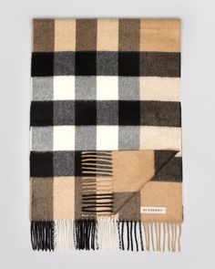 4c227379ac9 Burberry - Natural Check Pattern Cashmere Scarf for Men - Lyst