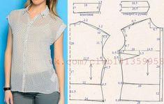 Блузка с отложным воротником и короткими цельнокроеными рукавами с отворотами. Выкройка на размер 46 (рос).  #простыевыкройки #простыевещи #шитье #блузка #блуза #выкройка