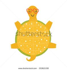 Vector tortoise relaxing in sunglasses on sun, cartoon turtle, happy tortoise isolated on white background