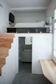 Wonderful Modern Interior Design Inspirations www.futuristarchi… - Apartment: Modern Architecture and Scandinavian Interior Design of A Bright Apartment Small Apartment Bedrooms, Bright Apartment, Small Apartments, Small Spaces, Studio Apartments, Bedroom Small, Trendy Bedroom, Retro Bedrooms, Small Rooms