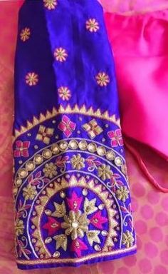 Maggam work Kids Blouse Designs, Silk Saree Blouse Designs, Choli Designs, Blouse Neck Designs, Sleeve Designs, Blouse Patterns, Aari Embroidery, Hand Work Embroidery, Embroidery Designs