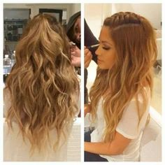 Braids With Curls Hairstyles Bandana - jessica burciaga braid and curls. my hair is this color now Homecoming Hairstyles, Wedding Hairstyles For Long Hair, Curled Hairstyles, Pretty Hairstyles, Concert Hairstyles, French Braid Hairstyles, Medium Hairstyles, Hair Wedding, Curled Hair With Braid