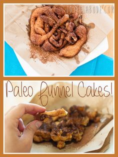 Paleo funnel cakes. Grain free, gluten free, dairy free, refined sugar free. And yummy-FULL.