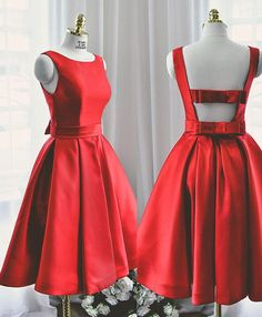 Beautiful Short Party Dress with Bow, Red Homecoming Dresses, Prom Dress - Abschlussball Kleider Short Red Prom Dresses, Cute Red Dresses, Cute Homecoming Dresses, A Line Prom Dresses, Evening Dresses, Casual Dresses, Formal Dresses, Short Prom, Party Dresses
