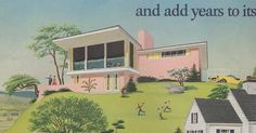 Pink Mid Century Modern. Detail from a 1954 2-page ad for paint. In the crates of ads, the two halves got separated. So, I don't know which paint company and also, obviously, I cannot scan the whole ad since I can't find half. :-)