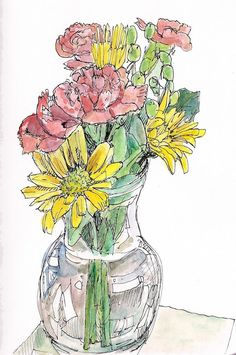 Yellow daisies and carnation flowers in vase. Fine art signed print 8.5x11. $18.00, via Etsy.