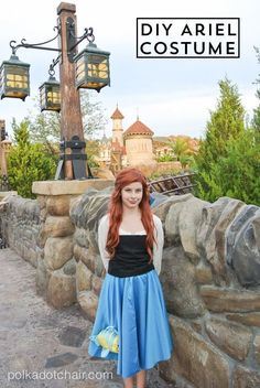 This Ariel Halloween costume does not require a pattern. You can save time constructing the costume by using a purchased white blouse. Ariel Halloween Costume, Disney Princess Halloween Costumes, Modest Halloween Costumes, Ariel Costumes, Diy Halloween, Woman Costumes, Couple Costumes, Couple Halloween, Adult Costumes
