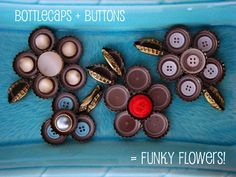 {create this} bottle cap & button flowers and a yard wrapped wreath - Shaken Together
