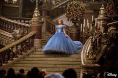Cinderella (Ella) arriving at the royal ball on the palace staircase