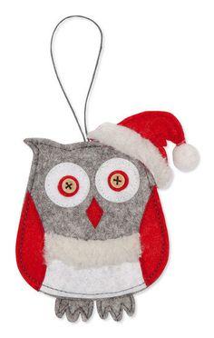 Vilt hanger Kerst Uil - styrodeco