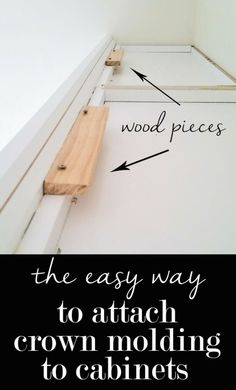 kitchen decor The easy way to attach crown molding to wall cabinets that don't reach the ceiling! I wish all crown molding was this easy to install when decorating a home. Ideas Prácticas, Cool Ideas, Decor Ideas, Easy Home Decor, Cheap Home Decor, Home Improvement Projects, Home Projects, Home Renovation, Home Remodeling