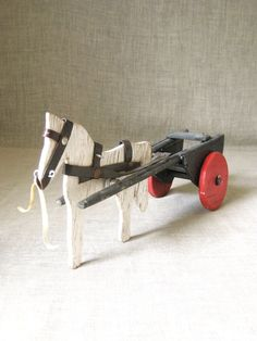 Primitive Wooden Folk Art Horse and Carriage Toy Handmade