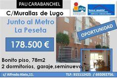Piso junto al metro La Peseta.  78 m2  Garaje.  Seminuevo.  Madrid  Carabanchel.  Spain.