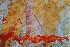 """Wardaman rock painting of the """"Sky Boss"""" and the Rainbow Serpent. The serpent at the bottom represents the Milky Way, and the head of the Sky Boss"""