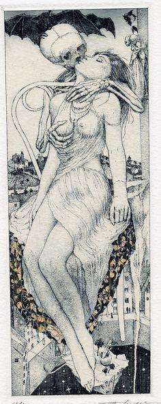 Ex Libris. Death grim reaper Father Time scythe maiden girl woman dance danse macabre skull skeleton