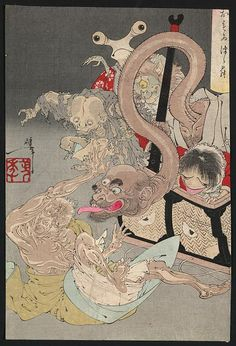 Yoshitoshi. Japanese monster awesomeness. From the Library of Congress' collection of Japanese prints. If you click through to the L.O.C., you can download a huge TIFF.