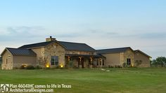 Architectural Designs Hill Country House Plan 46041HC client-built in Texas with a modified 4-car garage (from a 3-car one as designed). 4 beds, 3.5 baths and over 3,300 square feet of living. Ready when you are. Where do YOU want to build?