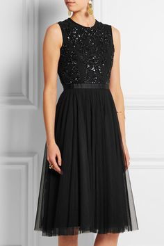NEEDLE & THREAD Embellished crepe and tulle dress | net-a-porter