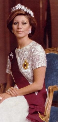 Queen Alia's Cartier Tiara:  Queen Alia with her husband, King Hussein of Jordan. Alia was Hussein's third wife; his first two marriages ended in divorce. King Hussein gave Alia this stunning diamond tiara from Cartier. When Alia tragically died in a helicopter crash in 1977, the tiara passed to her daughter, Princess Haya, who is now married to the Sheikh of Dubai. Princess Haya has frequently loaned the tiara to Queen Rania.