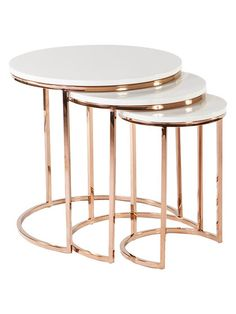 Modern Golded Reden Nesting Tables with Marble Tops — France & Son Table Design, Decor, Modern Home Furniture, Nesting Tables, Modern White Table, Modern Accent Tables, Marble Coffee Table, Furniture Side Tables, Marble End Tables