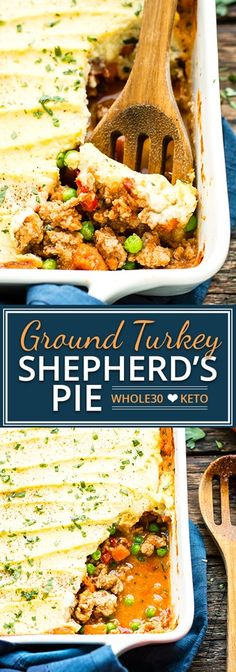 Ground Turkey Shepherd's Pie is made with a mashed cauliflower topping, ground turkey, and fresh herbs for a comforting low-carb dinner recipe. It is and Ketogenic diet approved and can easily be made Paleo! paleo dinner for kids Ground Turkey Shepherd's Pie, Low Carb Ground Turkey Recipe, Ground Turkey Dinners, Ground Turkey Casserole, Healthy Ground Turkey, Ground Turkey Recipes Whole 30, Dinner With Ground Turkey, Crockpot Ground Turkey Recipes, Ground Beef