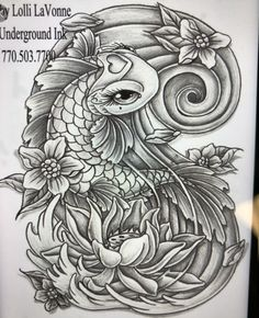 uploading at work since my comp is down at home. line work for a koi piece drawn custom by yours truly. made to be a decent size, whole piece of paper i. Girly koi cb and lotus grey Koi Dragon Tattoo, Koi Fish Tattoo, Dragon Tattoo Designs, Trendy Tattoos, Love Tattoos, Beautiful Tattoos, Tattoos For Women, Tatoos, Girly Tattoos