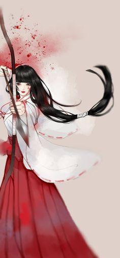 Kikyo from Inuyasha Manga Girl, Anime Art Girl, Manga Anime, Anime Kimono, Anime Girls, Fantasy Anime, 3d Fantasy, Chinese Drawings, Elfa