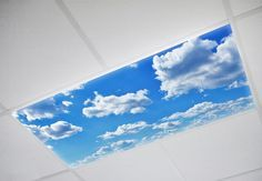 Cloud decorative fluorescent light covers for your home, school, office, or hospital.   Improves Mood Reduces Headaches High Quality Images Safe & UL Certified  These light covers are a simple way to light up that dreary old fluorescent light for a low cost.  Comes in 2x4, 2x2, 1x4, and custom sizing is available too!