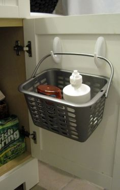 practical - cool way to use the upper space in a cabinet