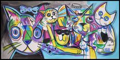 "60"" HUGE Colorful COOL CATS ABSTRACT Modern ART PAINTING by RAEART #Abstract"