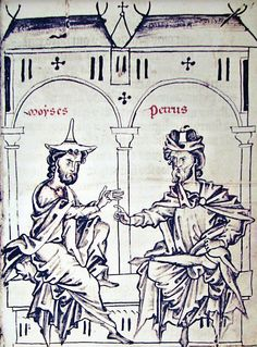 13th-century illustration of a Jew (in pointed Jewish hat) and the Christian Petrus Alphonsi debating