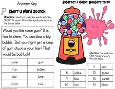 This is a fun, mixed-skills worksheet designed for first graders. They read a short story and find all of the words with the short U sound. Next, they solve subtraction problems up to 20 minus numbers) and color a picture using their answers. Grade 1, First Grade, Second Grade, Homeschool Math, Curriculum, Teaching Resources, Teaching Ideas, Teaching Main Idea, Phonics Lessons