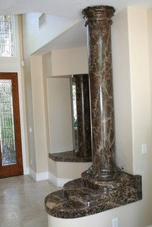 originally white columns, now painted to look like faux marble