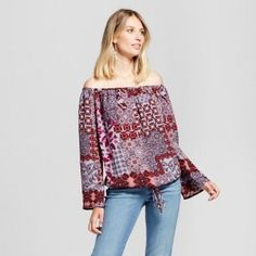 1b90f949b0a Details about NEW Women's Printed Off the Shoulder Tie Waist Top - Knox Rose™  S, XXL