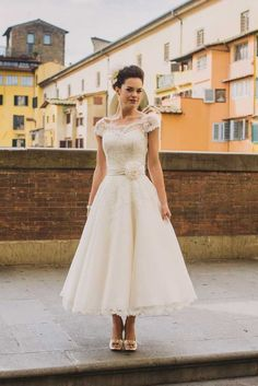 cap sleeves tea length wedding dress with flower belt
