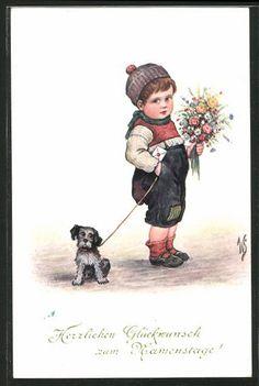 Künstler-AK Willi Scheuermann: Kleiner Junge mit Hund an der Leine und…