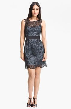Adrianna Papell Embroidered Organza Sheath Dress available at #Nordstrom up to size 16, only available in slate, kind of short, but pretty