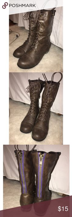 Brown combat boots 9 wide. Brown zip up combat boots. Best for wide calves. Warn once. Too wide for me. Wet Seal Shoes Combat & Moto Boots