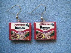 Yummy Ramen Noodle Kitsch Dangle Polymer Clay Junk Food Earrings Hypo Allergenic Nickle-Free. $15.00, via Etsy.