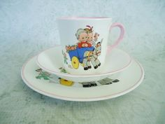 SHELLEY Bone China Trio - Shelley Mabel Lucie Attwell Child Trio Tea Set