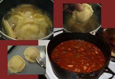 Rindfleisch Stew with Potato Cheese Knoephla  Similar to a Beef stew and the cheese pockets have a potato cheese filling.