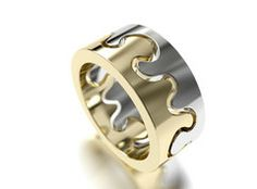 Kristian Saarikorpi ~Puzzle I Ring in 18K white and yellow gold, 0.04ct W/VS diamond. | Saarikorpi Design Oy  Design By