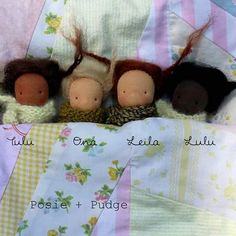 All snuggled up! These littles will be looking for a home tonight at 7pm est in the #Dollectable shop. #posieandpudge #waldorfdoll