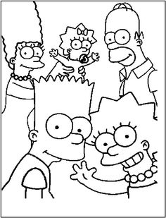 simpsons family coloring pages for kids printable free - Emo Coloring Pages To Print