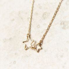 Double Stars Necklace in gold by laonato on Etsy, $15.00