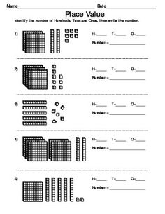 Worksheets for practice or assessment of converting place value, decimal, and fraction models into their numeric equivalents, including mixed numbers and improper fractions.  The place value page uses representations of standard base 10 blocks.  The decimals page uses both tenths and hundredths models.