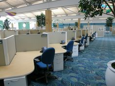 Cool atmosphere call center cubicles! #callcenterfurniture