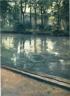 """""""The Yerres Rain""""   Artist: Gustave Caillebotte  Completion Date: 1875  Style: Impressionism  Genre: landscape  Technique: oil  Material: canvas  Dimensions: 81 x 59 cm  Gallery: Indiana University Art Museum, Bloomington, Indiana, USA"""